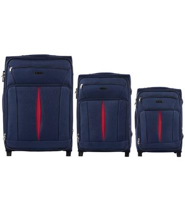 Набор Чемоданов Wings 1601 синий 2 колеса картинка, изображение, фото