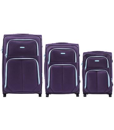 Набор чемоданов Wings 214 фиолетовый 2 колесный картинка, изображение, фото