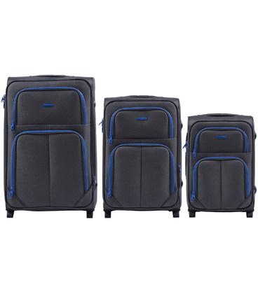 Набор чемоданов Wings 214 серый 2 колесный картинка, изображение, фото
