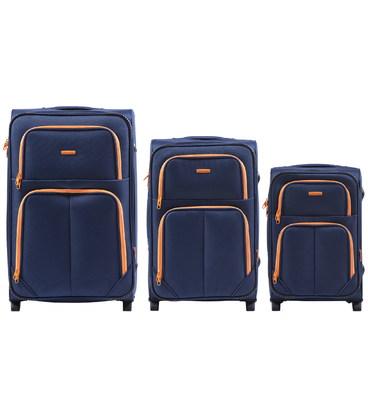 Набор чемоданов Wings 214 синий 2 колесный картинка, изображение, фото