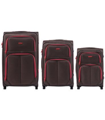 Набор чемоданов Wings 214 коричневый 2 колесный картинка, изображение, фото
