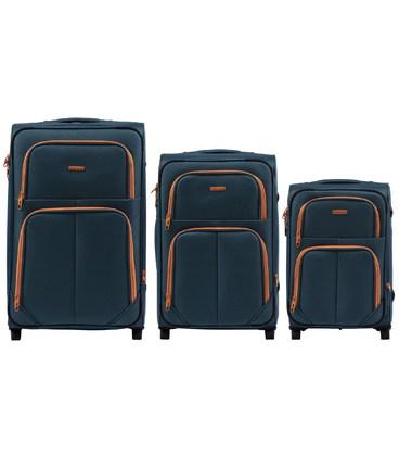 Набор чемоданов Wings 214 зеленый 2 колесный картинка, изображение, фото