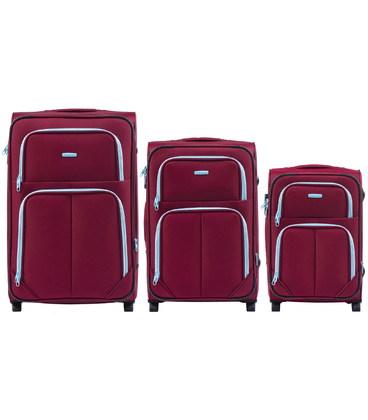 Набор чемоданов Wings 214 бордовый 2 колесный картинка, изображение, фото