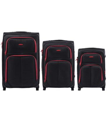 Набор чемоданов Wings 214 черный 2 колесный картинка, изображение, фото