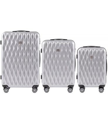 Набор чемоданов Wings PC190 серебристый картинка, изображение, фото