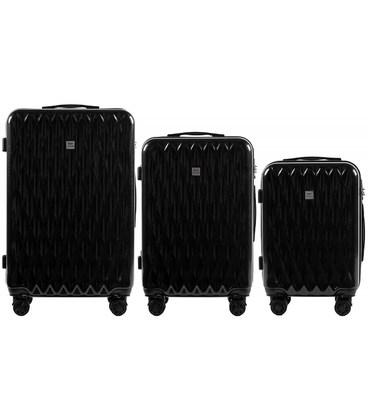 Набор чемоданов Wings PC190 черный картинка, изображение, фото