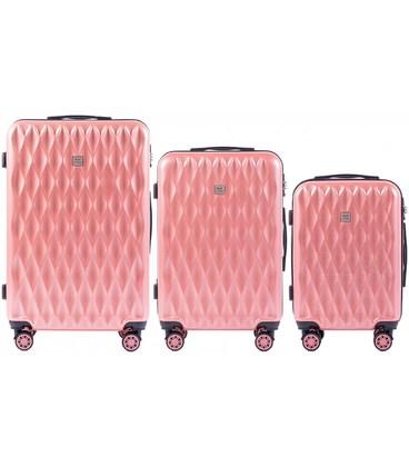 Набор чемоданов Wings PC190 розовый картинка, изображение, фото