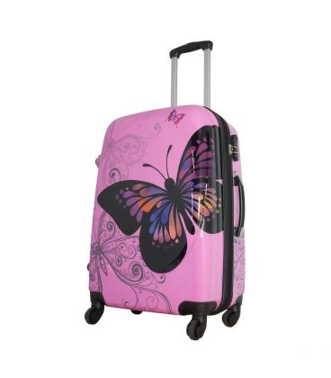 Чемодан Monopol Бабочка розовый Midi картинка, изображение, фото
