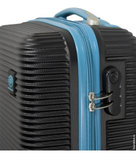Чемодан Monopol Santorin черно-голубой Mini картинка