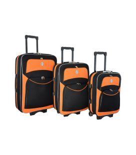 Набор Чемоданов Bonro Style черно-оранжевый