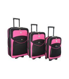 Набір Валіз Bonro Style чорно-рожевий