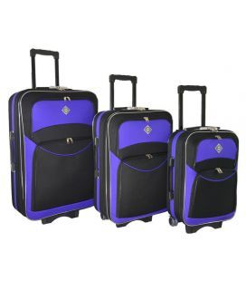 Набір Валіз Bonro Style чорно-фіолетовий