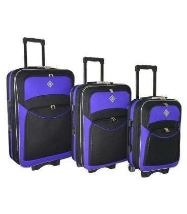 Набор Чемоданов Bonro Style черно-фиолетовый картинка